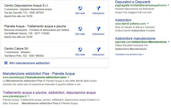 """Pianeta Acqua: Posizionamento sui motori di ricerca per la parola: """"Manutenzione Addolcitori Pisa"""""""