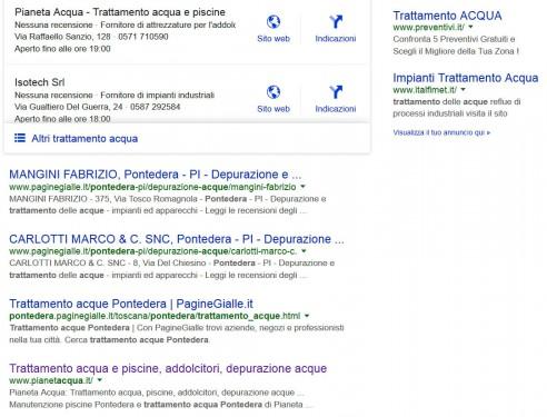 """Pianeta Acqua: Posizionamento sui motori di ricerca per la parola: """"Trattamento Acque Pontedera"""""""