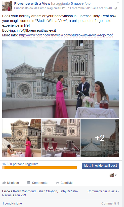 Florence With a View - Campagna Web Marketing Facebook